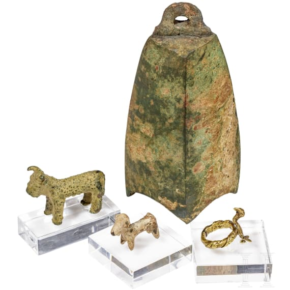 Two animal figures, a bell and a ring, 1st century B.C. - 1600 A.D.