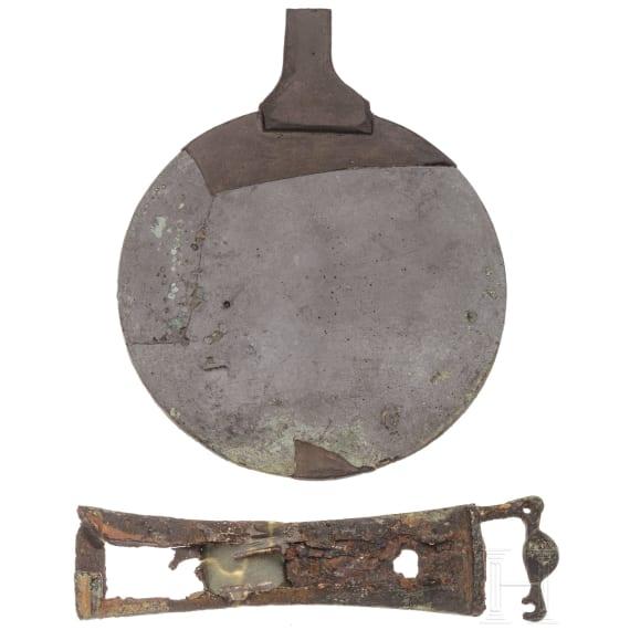 A Hellenistic bronze mirror, 3rd-1st century B.C.