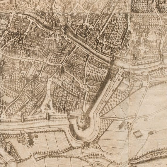 A large Bird's-eye view of the city Augsburg, Wolfgang Kilian (1581-1662), dated 1662