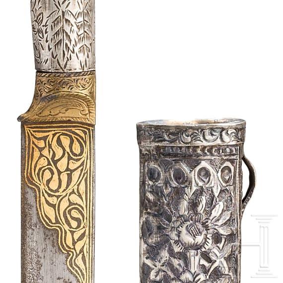 Kleines goldtauschiertes Messer mit Nephritgriff, osmanisch, um 1800