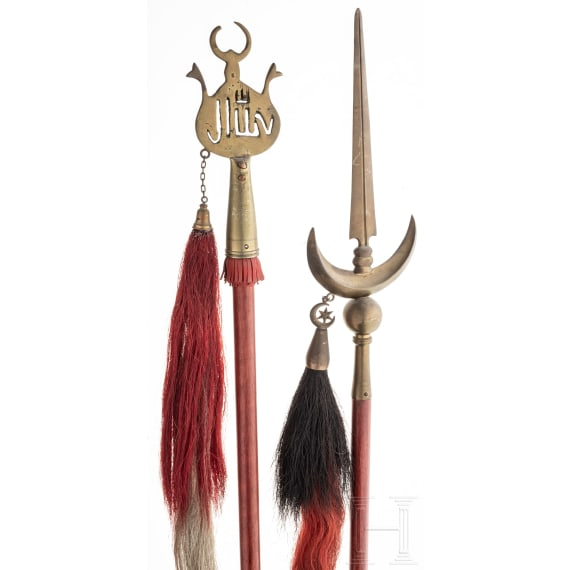 Two Ottoman(?) polearms/standards, 1st half of the 20th century