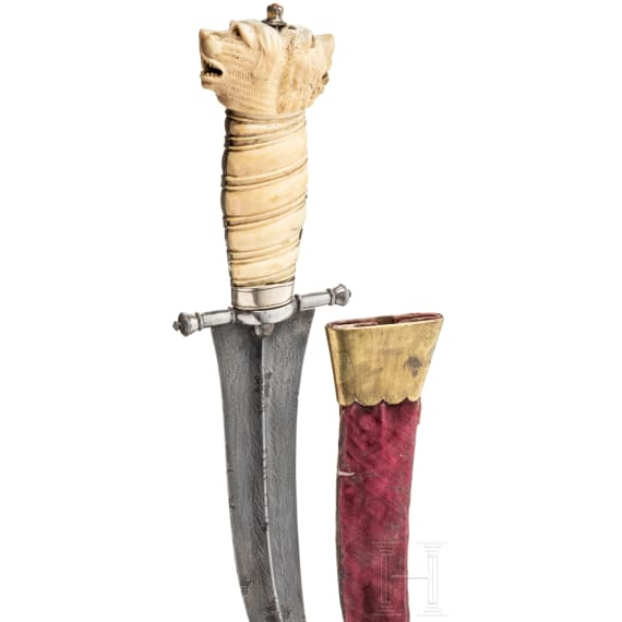 An Indian Jambiya with carved ivory handle, 1st half of the 19th century
