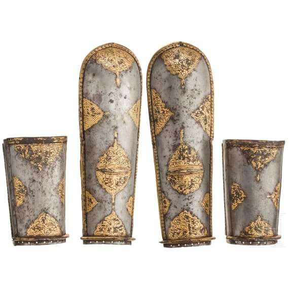 A pair of Indian gold-damascened bracers (bazu band), 18th century