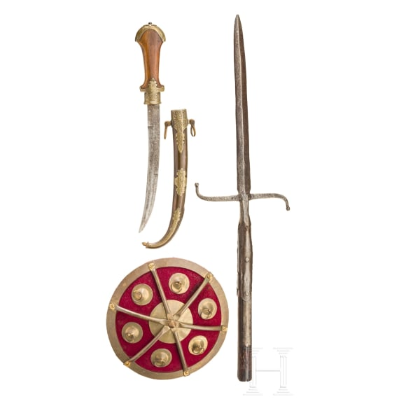 An European and North African spear, koummya and fist shield, 19th/20th century