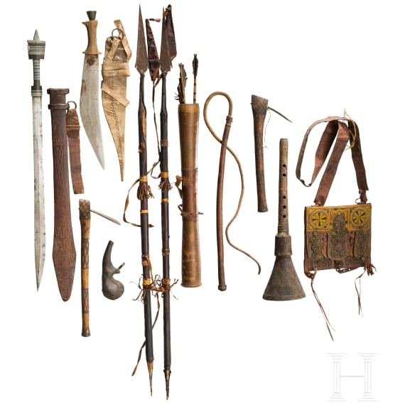 A small collection of African arms and works of art