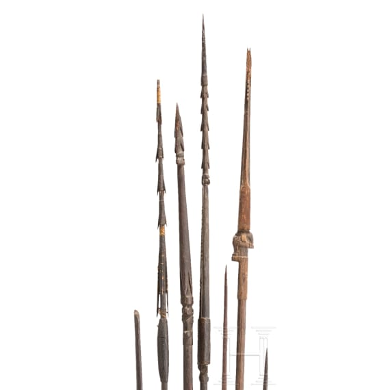 A bow and six spears, New Guinea