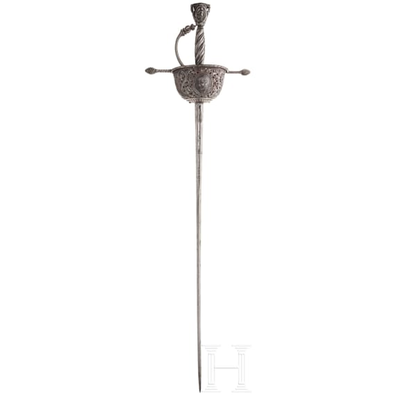 A chiselled cup-hit rapier, collector's replica with older parts in the style of the 17th century