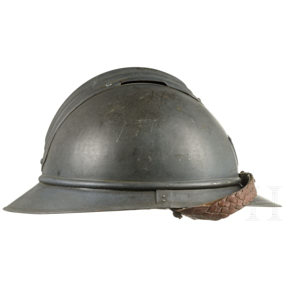 A French steel helmet M 15 Adrian for Chasseurs, circa 1915 - 1918