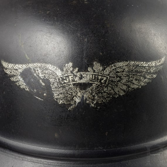 Two German M 39 air-raid helmets, circa 1939/40