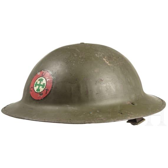 A Portuguese steel helmet of British shape, circa 1939