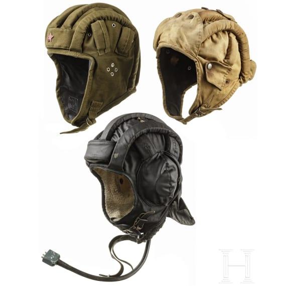 Three caps for tank crews, GDR/USSR, 1970s - 1980s