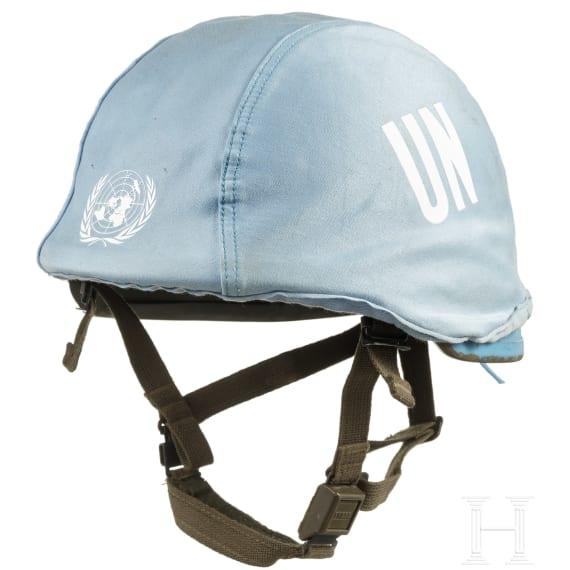 A combat helmet B 826 in UN-blue, circa 1993