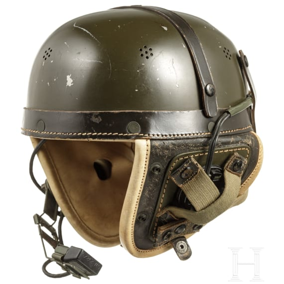 A tanker helmet with equipment for communication, 1950s - 1960s