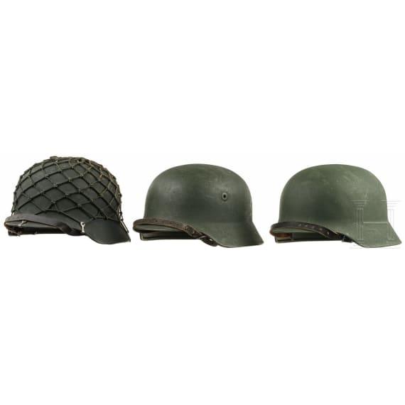 Three steel helmets of the Bundesgrenzschutz (BGS), 1950s