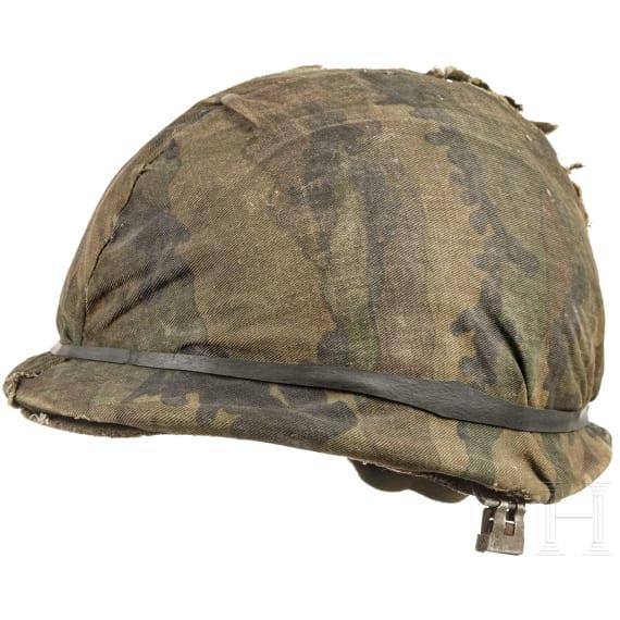 An Argentine steel helmet from the Falklands War, 1982