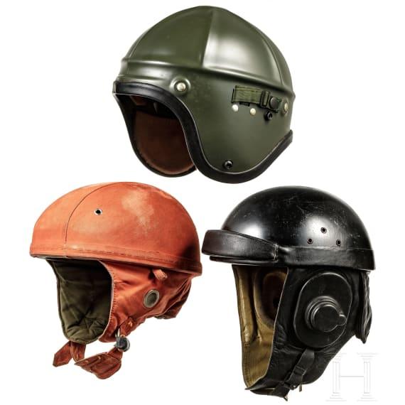 Three French helmets, 1950s - 1970s