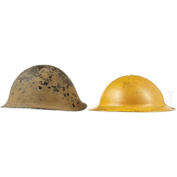 Two British steel helmets for foreign troops, 1940s - 1960s