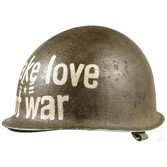 "A US-American steel helmet US M1 ""Make love, not war"", 1960s - 1970s"
