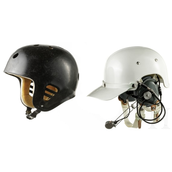 Two US-American plastic helmets, 1970s - 1980s