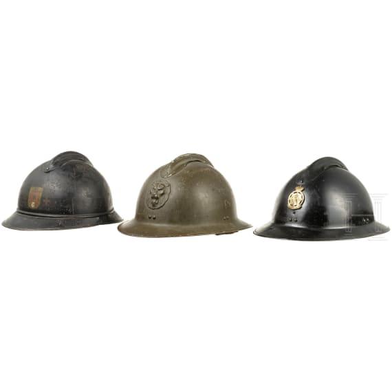 Three Belgian steel helmets Adrian, 1920s - 1940s