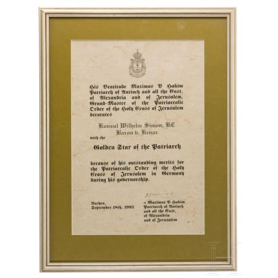 Consul Wilhelm Simon, Baron von Kenaz - an estate of orders, 20th century