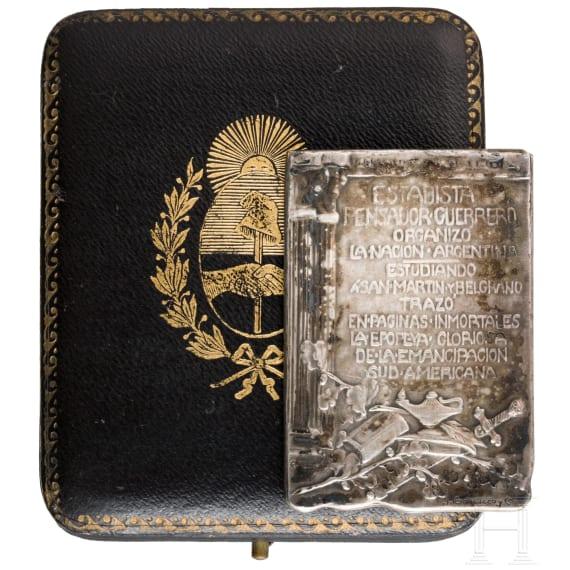Erinnerungsplakette zum Tod Bartolome Mitres 1906 in Etui, Argentinien