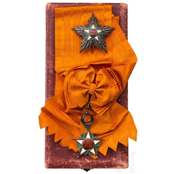 Orden Ouissam Alaouite - Großkreuz und Schärpe im Verleihungsetui