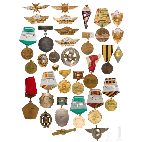 A large group of awards and shoulder boards, mostly Soviet Union, 2nd half of the 20th century