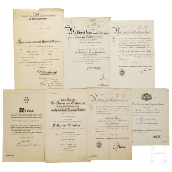 A group of certificates for Hauptmann von Steuben of the Guard Infantry, 1915 - 1933
