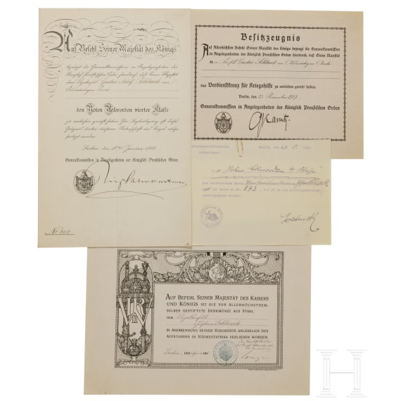 A group of documents for officer and diplomat Schliack, 19th/20th century