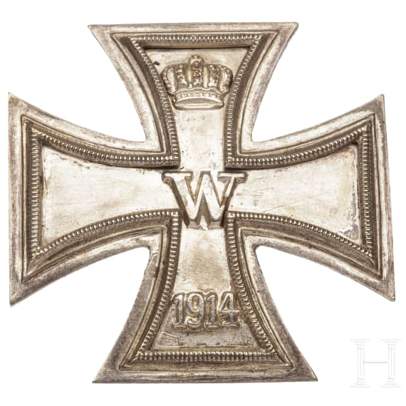 Estate Major Kissling - four Iron Crosses 1st Class 1914, a Horseman's Badge in bronze with stickpin, a bronze medal for the 300-year celebration Wuerzburg 1882 and a ribbon bar