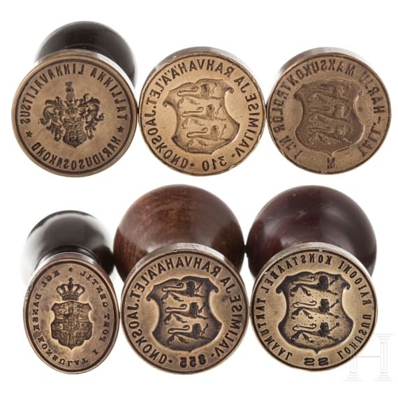 Four Danish official seals and two matrixes, 19th century