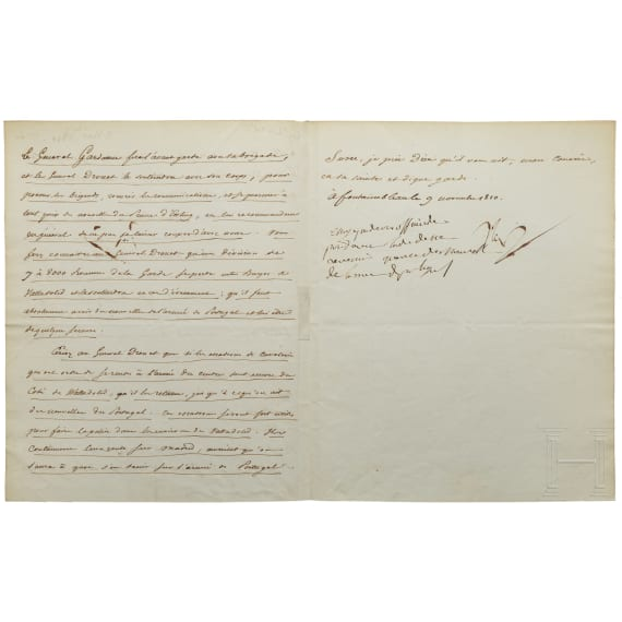 Napoleon I - a letter signed by his own hand, Fontainebleau, 9.11.1810