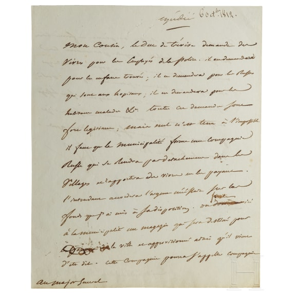 Napoleon I - a letter signed by his own hand, Moscow, 6.10.1812
