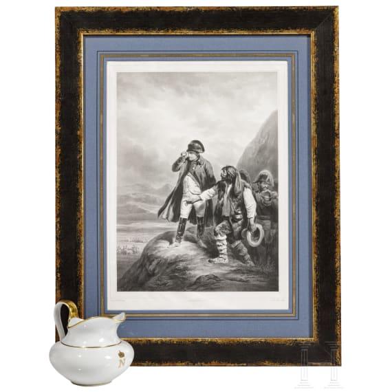 Napoleon I - a jug and a framed printing