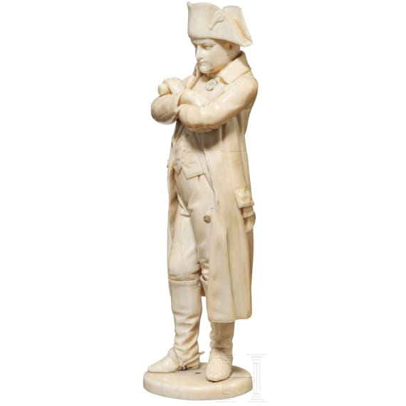 Napoleon I - an ivory statuette, mid-19th century