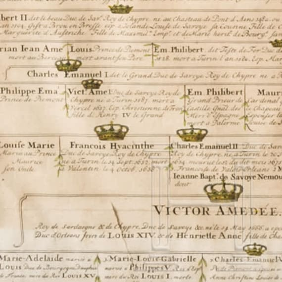 A pedigree of the Royal House of Savoyen, 18th century
