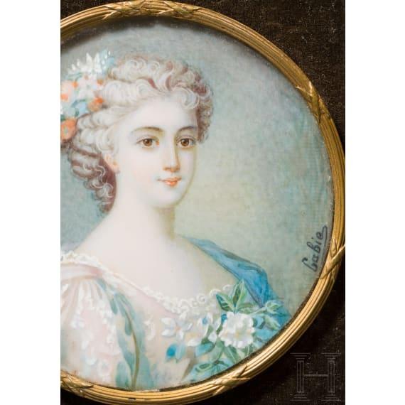 Enrichetta d'Este (1702-77) - miniature portrait of the Princess of Modena, late 19th century