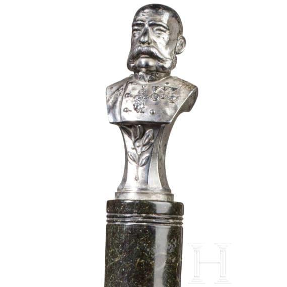Emperor Franz Joseph I of Austria - small silvered bust