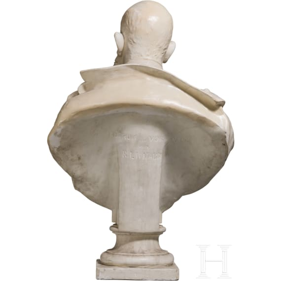 Emperor Franz Joseph I of Austria – a large plaster bust on a carved wooden stand