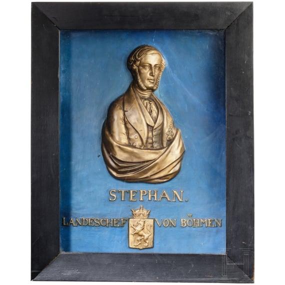 "Archduke Stephan of Austria (1817 - 1867) - a portrait relief as ""country chief of Bohemia"", circa 1850"