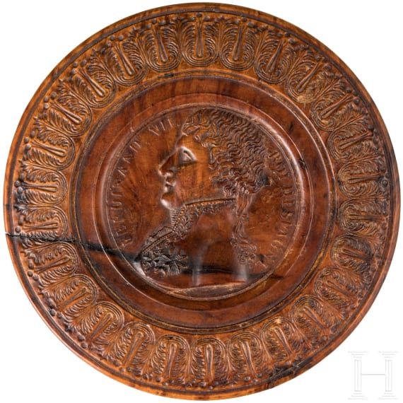 Spain - a wooden box with portrait of King Ferdinand VII, c. 1810