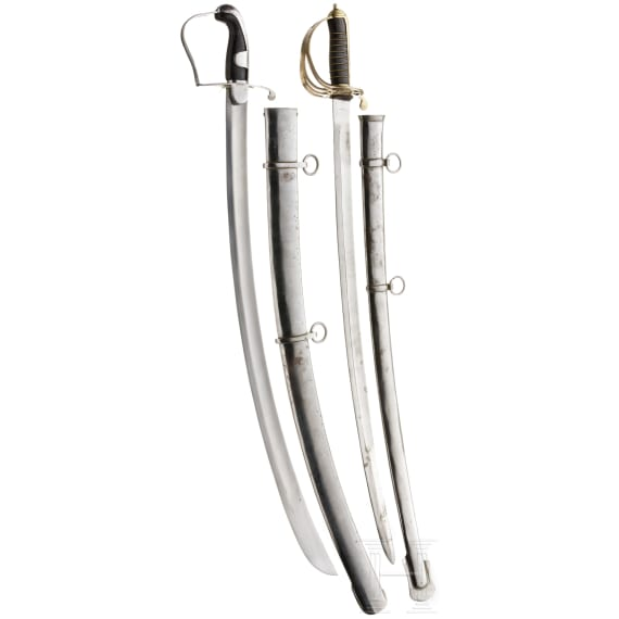 Two sabres, modern collector's replicas in the style of the 18th/19th century