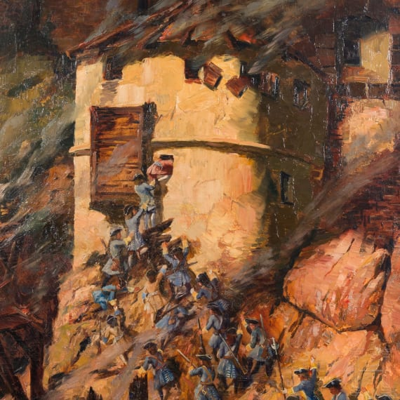Bavarian infantry attacking a castle, painting circa 1900