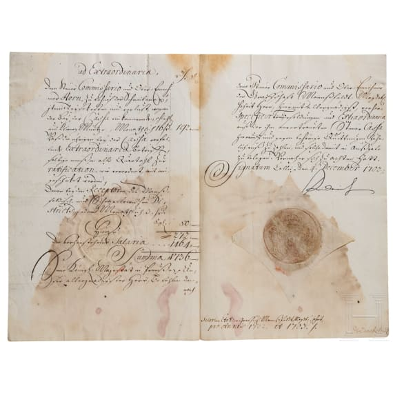 King Friedrich I of Prussia - an autograph, dated 4.12.1702