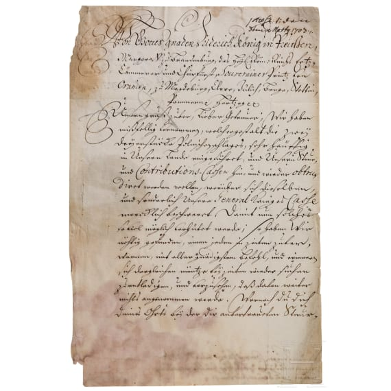 King Friedrich I of Prussia - an autograph, dated 24.2.1703