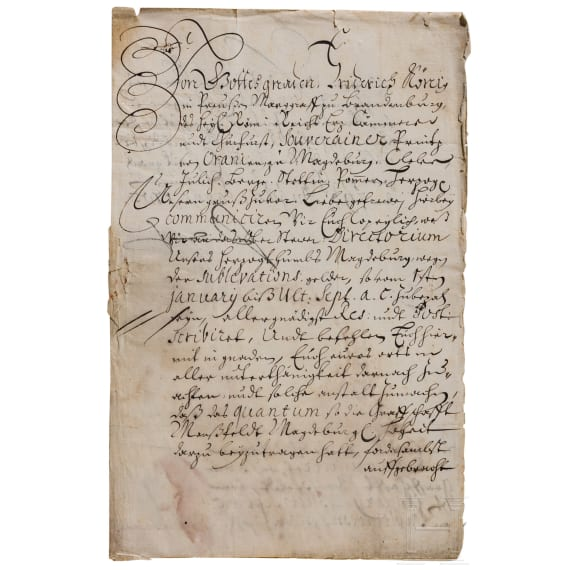 King Friedrich I of Prussia - an autograph, dated 29.8.1703