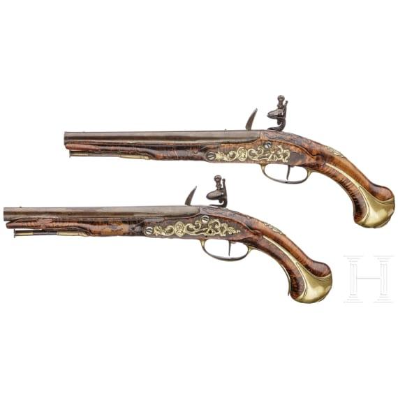 Ein Paar Steinschlosspistolen, Jean Griottier in St. Étienne, um 1750