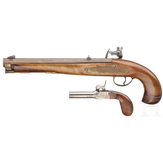 A flintlock pistol and a percussion pocket pistol, collector's replicas in the style of the 18th/19th century.