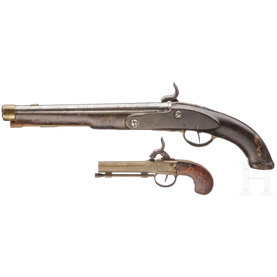 A percussion pistol and a pocket pistol, 18th/19th century